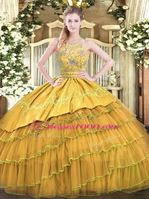 Simple Gold Sleeveless Floor Length Beading and Embroidery and Ruffled Layers Zipper Quinceanera Dress