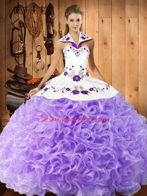 Embroidery Quinceanera Gown Lavender Lace Up Sleeveless Floor Length