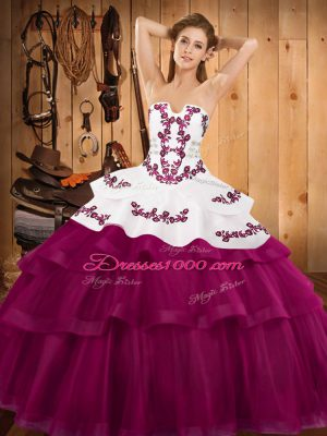 Sleeveless Embroidery and Ruffled Layers Lace Up Quinceanera Gown with Fuchsia Sweep Train