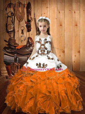 High Class Straps Sleeveless Organza Little Girls Pageant Dress Wholesale Embroidery and Ruffles Lace Up