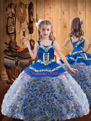 Popular Multi-color Straps Neckline Embroidery and Ruffles Little Girl Pageant Gowns Sleeveless Lace Up
