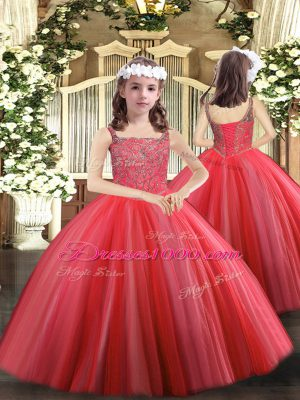 Classical Tulle Straps Sleeveless Lace Up Beading Kids Pageant Dress in Coral Red