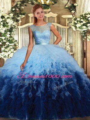 Sleeveless Backless Floor Length Beading and Ruffles Sweet 16 Quinceanera Dress