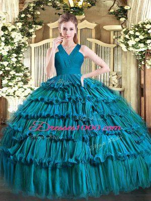 Sumptuous Teal Zipper V-neck Ruffled Layers 15 Quinceanera Dress Organza Sleeveless