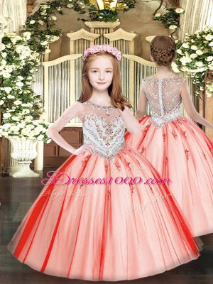 Coral Red Child Pageant Dress Party and Quinceanera with Beading and Appliques Scoop Sleeveless Zipper