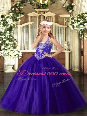 New Style Sleeveless Beading Lace Up Pageant Dress for Teens