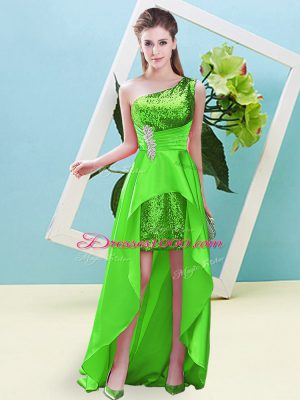 Dynamic Sleeveless High Low Beading and Sequins Lace Up Prom Evening Gown with