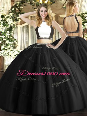 Sexy Black Sleeveless Tulle Backless Quinceanera Dress for Military Ball and Sweet 16 and Quinceanera