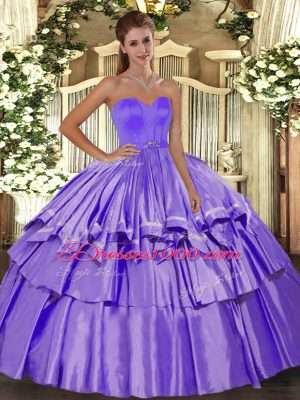 Custom Made Lavender Sleeveless Floor Length Beading and Ruffled Layers Lace Up Quinceanera Dresses