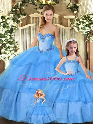 Top Selling Sleeveless Lace Up Floor Length Beading and Ruffled Layers Sweet 16 Quinceanera Dress