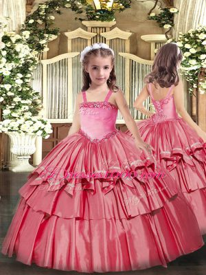 Ball Gowns Kids Formal Wear Coral Red Straps Organza Sleeveless Floor Length Lace Up