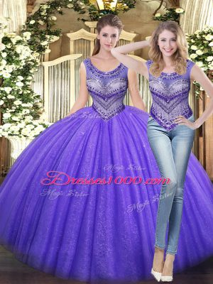 Lavender Tulle Lace Up Scoop Sleeveless Floor Length Sweet 16 Quinceanera Dress Beading