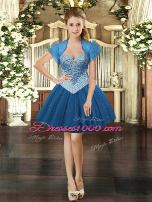 Mini Length Lace Up Party Dress for Girls Royal Blue for Prom and Party with Beading