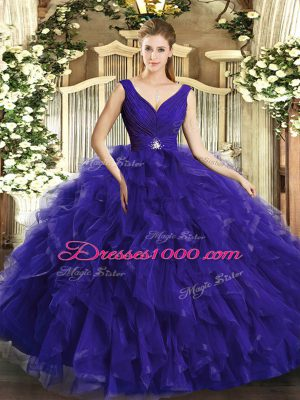Purple V-neck Neckline Beading and Ruffles Quinceanera Gowns Sleeveless Backless