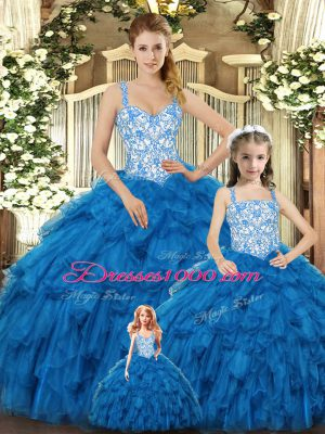 Floor Length Ball Gowns Sleeveless Teal Quinceanera Gown Lace Up