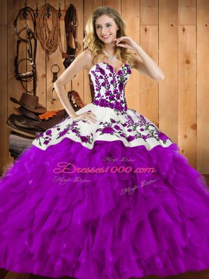 Eggplant Purple 15 Quinceanera Dress Military Ball and Sweet 16 and Quinceanera with Embroidery and Ruffles Sweetheart Sleeveless Lace Up