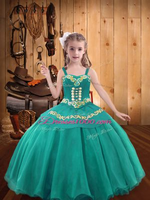 Lace Up Custom Made Teal for Party and Sweet 16 and Quinceanera and Wedding Party with Embroidery and Ruffles