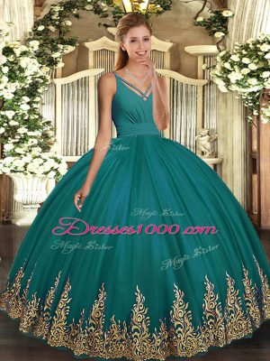 Affordable Sleeveless Tulle Floor Length Backless Vestidos de Quinceanera in Teal with Appliques