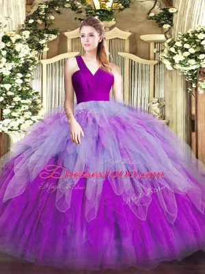 Multi-color Zipper V-neck Ruffles Quince Ball Gowns Organza Sleeveless