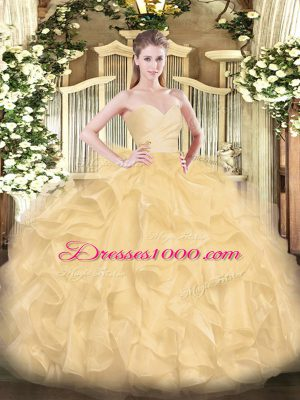 Fantastic Gold Sleeveless Organza Lace Up Vestidos de Quinceanera for Military Ball and Sweet 16 and Quinceanera