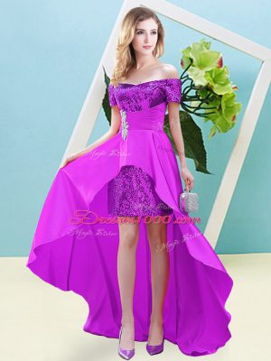 Vintage Fuchsia Lace Up Off The Shoulder Beading Party Dress Elastic Woven Satin and Sequined Short Sleeves