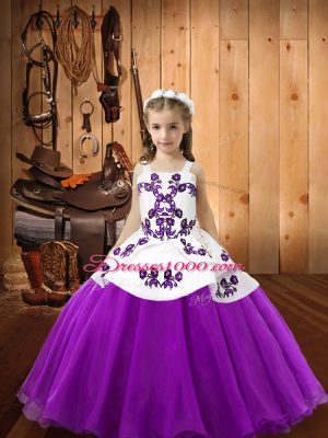 Eggplant Purple Ball Gowns Organza Straps Sleeveless Embroidery Floor Length Lace Up Little Girls Pageant Gowns