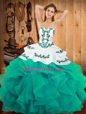 Traditional Turquoise Ball Gowns Satin and Organza Strapless Sleeveless Embroidery and Ruffles Floor Length Lace Up Sweet 16 Dresses