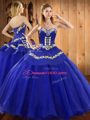 Dynamic Sweetheart Sleeveless Satin and Tulle Ball Gown Prom Dress Embroidery Lace Up