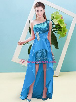 Clearance Sleeveless High Low Beading and Sequins Lace Up Prom Dresses with Baby Blue