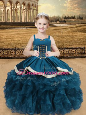 Stylish Floor Length Teal Little Girls Pageant Gowns Organza and Taffeta Sleeveless Beading and Ruffles