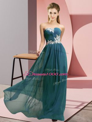 Teal Empire Appliques Prom Gown Lace Up Chiffon Sleeveless Floor Length
