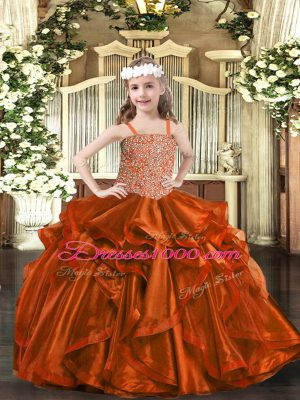 Rust Red Organza Lace Up Pageant Gowns Sleeveless Floor Length Beading and Embroidery and Ruffles