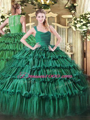 Delicate Floor Length Ball Gowns Sleeveless Dark Green Quinceanera Dress Zipper