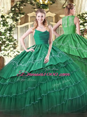 Dark Green Zipper Straps Embroidery and Ruffled Layers Quince Ball Gowns Organza and Taffeta Sleeveless