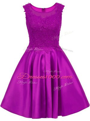 Amazing Satin Sleeveless Mini Length Bridesmaid Gown and Lace