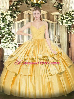 Gold Ball Gowns Taffeta Spaghetti Straps Sleeveless Ruffled Layers Floor Length Zipper Quinceanera Gown