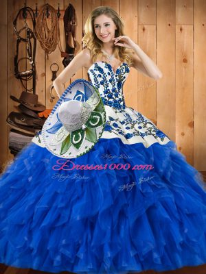 Inexpensive Blue Sleeveless Satin and Organza Lace Up Sweet 16 Dress for Military Ball and Sweet 16 and Quinceanera