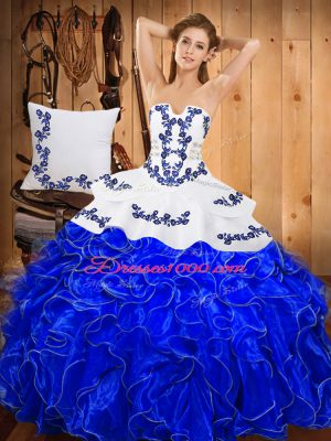 Amazing Blue And White Sleeveless Floor Length Embroidery and Ruffles Lace Up Ball Gown Prom Dress