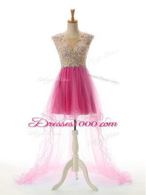 Deluxe High Low Backless Prom Gown Fuchsia for Prom and Party with Appliques