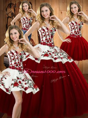 Sleeveless Satin and Tulle Floor Length Lace Up Quinceanera Dresses in Wine Red with Embroidery
