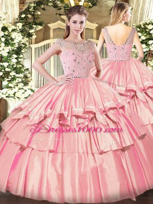 Sophisticated Sleeveless Zipper Floor Length Beading and Ruffled Layers 15 Quinceanera Dress