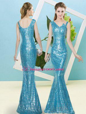 Beautiful Baby Blue Asymmetric Zipper Sequins Homecoming Dress Sleeveless