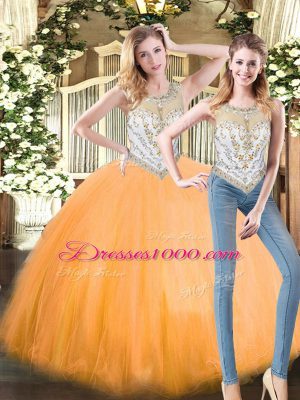 Floor Length Orange Red Quinceanera Gowns Tulle Sleeveless Beading
