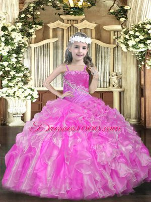 Fashion Rose Pink Straps Neckline Beading and Ruffles and Sequins Pageant Dress for Womens Sleeveless Lace Up