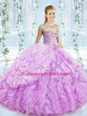 Sleeveless Organza Brush Train Lace Up 15 Quinceanera Dress in Lilac with Beading and Ruffles