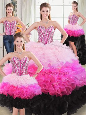 Ball Gowns Quinceanera Dress Multi-color Sweetheart Organza Sleeveless Floor Length Lace Up