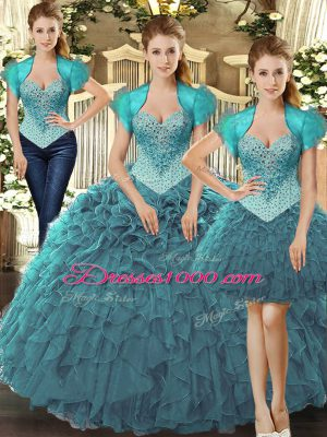 Discount Teal Lace Up Vestidos de Quinceanera Beading and Ruffles Sleeveless Floor Length