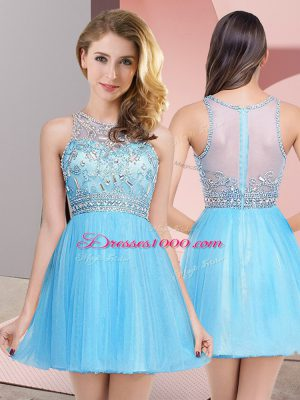 Sweet Sleeveless Tulle Mini Length Zipper Dress for Prom in Baby Blue with Beading