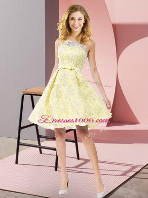 Knee Length Yellow Bridesmaids Dress Lace Sleeveless Bowknot