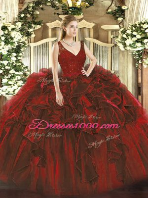 Admirable Wine Red Ball Gowns Organza V-neck Sleeveless Beading and Ruffles Floor Length Zipper Ball Gown Prom Dress